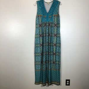 Live and Let Live Boho Embroidered Maxi Dress - L